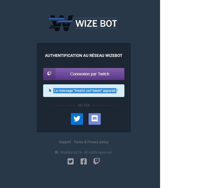 WIZEBOT message invalid csrf token apparait